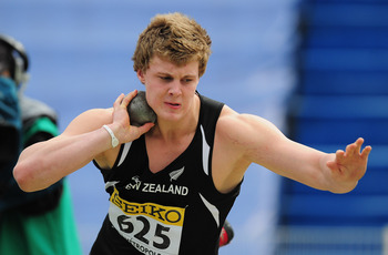 LILLE, FRANCE - JULY 07:  Gold medal winner Jacko Gill of New Zealand in action during the Boys Shot Put final during during day two of the IAAF World Youth Championships at Lille Metropole stadium on July 7, 2011 in Lille, France.  (Photo by Stu Forster/