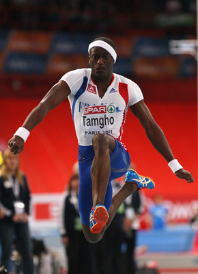 PARIS, FRANCE - MARCH 06:  Teddy Tamgho of France jumps a new world record of 17.92 on the way to winning the gold medal in the Men's Triple Jump during day 3 of the 31st European Athletics Indoor Championships at the Palais Omnisports de Paris-Bercy on M
