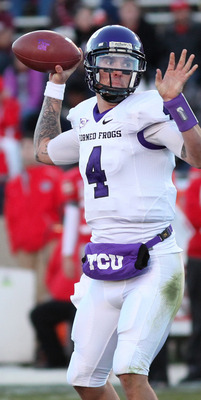 ALBUQUERQUE, NM - NOVEMBER 27: Back-up quarterback Casey Pachall #4 of the TCU Horned Frogs passes against the University of New Mexico Lobos on November 27, 2010 at University Stadium in Albuquerque, New Mexico. TCU won 66-17. (Photo by Eric Draper/Getty