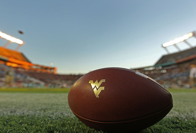 ORLANDO, FL - DECEMBER 28:  A West Virginia Mountineers football lays in the endzone during the Champs Sports Bowl against the North Carolina State Wolfpack at Florida Citrus Bowl Stadium on December 28, 2010 in Orlando, Florida.  (Photo by Mike Ehrmann/G