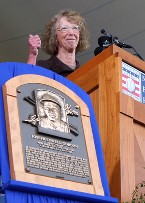 COOPERSTOWN, NY - JULY 26:  Judy Gordon gives an acceptance speech for her late father,2009 inductee Joe Gordon,at Clark Sports Center during the Baseball Hall of Fame induction ceremony on July 26, 2009 in Cooperstown, New York. Gordon was a nine time Al