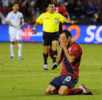 Landon Donovan reacts after missing a great opportunity against Costa Rica