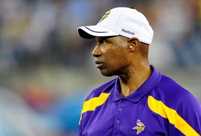 NASHVILLE, TN - AUGUST 13:  Coach Leslie Frazier of the Minnesota Vikings watches his team against the Tennessee Titans during a preseason game at LP Field on August 13, 2011 in Nashville, Tennessee. Tennessee defeated Minnestoa, 14-3. (Photo by Grant Hal