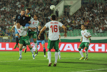 SOFIA, BULGARIA - SEPTEMBER 02:  Wayne Rooney of England scores this team's second goal during the EURO 2012 group G qualifying match between Bulgaria and England at the Vasil Levski National Stadium on September 2, 2011 in Sofia, Bulgaria.  (Photo by Mic