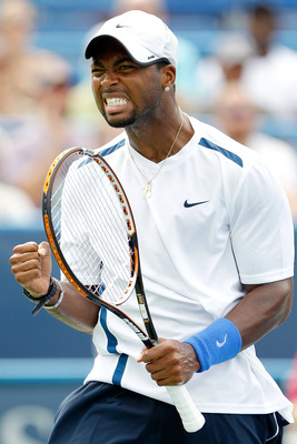 WASHINGTON, DC - AUGUST 06:  Donald Young celebrates a point against Radek Stepanek of the Czech Republic during the semifinals of the Legg Mason Tennis Classic presented by Geico at the William H.G. FitzGerald Tennis Center on August 6, 2011 in Washingto