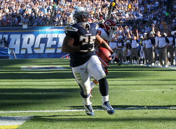 SAN DIEGO - DECEMBER 12:  Running back Mike Tolbert #35 of the San Diego Chargers crosses the goal line on an eight yard touchdown run against the Kansas City Chiefs at Qualcomm Stadium on December 12, 2010 in San Diego, California.  (Photo by Stephen Dun