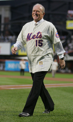 NEW YORK - AUGUST 22:  Jerry Grote walks to throw the first pitch during the presentation commemorating the New York Mets 40th anniversary of the 1969 World Championship team on August 22, 2009 at Citi Field in the Flushing neighborhood of the Queens boro