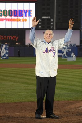 NEW YORK - SEPTEMBER 28:  Former New York Mets players Ed Kranepool waves to the fans at home plate after the game against the Florida Marlins to commemorate the last regular season baseball game ever played in Shea Stadium on September 28, 2008 in the Fl