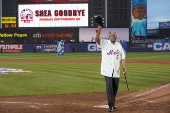 NEW YORK - SEPTEMBER 28:  Former New York Mets players Ed Charles waves to the fans at home plate after the game against the Florida Marlins to commemorate the last regular season baseball game ever played in Shea Stadium on September 28, 2008 in the Flus