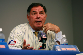 NEW YORK - AUGUST 22:  Ron Swoboda speaks at a press conference commemorating the New York Mets 40th anniversary of the 1969 World Championship team on August 22, 2009 at Citi Field in the Flushing neighborhood of the Queens borough of New York City.  (Ph
