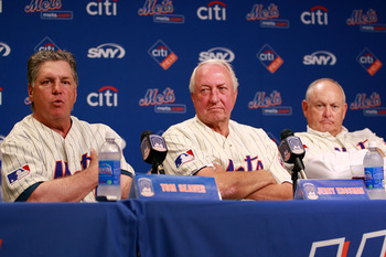 NEW YORK - AUGUST 22:  Tom Seaver speaks while Jerry Koosman and Nolan Ryan look on at a press conference commemorating the New York Mets 40th anniversary of the 1969 World Championship team on August 22, 2009 at Citi Field in the Flushing neighborhood of