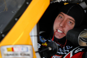 HAMPTON, GA - SEPTEMBER 03:  Kyle Busch, driver of the #18 Pedigree Toyota, prepares for practice for the NASCAR Sprint Cup Series AdvoCare 500 at Atlanta Motor Speedway on September 3, 2011 in Hampton, Georgia.  (Photo by Todd Warshaw/Getty Images for NA
