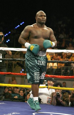 HOLLYWOOD, FL - JANUARY 06: James 'Lights Out' Toney enters the ring during the bout against Samuel 'Nigerian Nightmare' Peter in a WBC heavyweight title eliminator fight at the Hard Rock Hotel and Casino January 6, 2007 in Hollywood, Florida. (Photo by M
