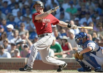 CHICAGO - SEPTEMBER 2: Craig Biggio #7 of the Houston Astros swings at the pitch during the game agaiinst the Chicago Cubs on September  2, 2007 at Wrigley Field in Chicago, Illinois. (Photo by Jonathan Daniel/Getty Images)