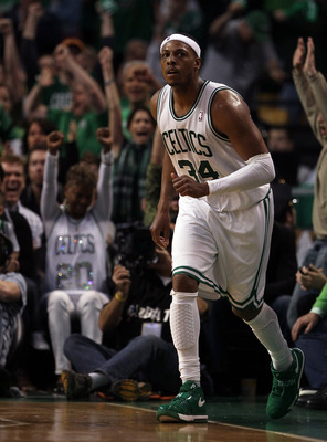 BOSTON, MA - MAY 07:  Paul Pierce #34 of the Boston Celtics celebrates his three point shot in the fourth quarter against the Miami Heat in Game Three of the Eastern Conference Semifinals in the 2011 NBA Playoffs on May 7, 2011 at the TD Garden in Boston,
