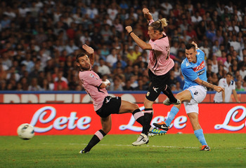 NAPLES, ITALY - AUGUST 27:  Marek Hamsik of Napoli scores the opening goal during the pre season friendly match between SSC Napoli and US Citta di Palermo at Stadio San Paolo on August 27, 2011 in Naples, Italy.  (Photo by Tullio M. Puglia/Getty Images)