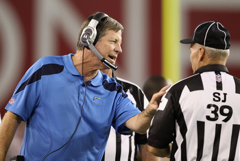 GLENDALE, AZ - AUGUST 27:  Head coach Norv Turner of the San Diego Chargers talks with side judge Don Carlsen during the preseason NFL game against the Arizona Cardinals at the University of Phoenix Stadium on August 27, 2011 in Glendale, Arizona. The Cha