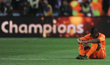 JOHANNESBURG, SOUTH AFRICA - JULY 11:  Eljero Elia of the Netherlands shows his dejection at the final whistle after losing the 2010 FIFA World Cup South Africa Final match between Netherlands and Spain at Soccer City Stadium on July 11, 2010 in Johannesb
