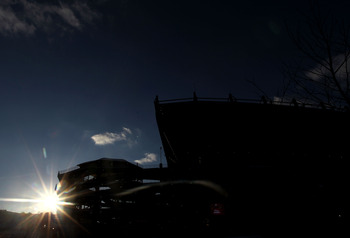 PITTSBURGH, PA - JANUARY 23:  The sun sets as fans of the Pittsburgh Steelers taigate in the parking lot prior to play agains the New York Jets during the 2011 AFC Championship game at Heinz Field on January 23, 2011 in Pittsburgh, Pennsylvania.  (Photo b