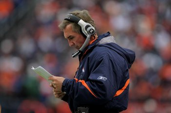 DENVER - OCTOBER 12:  Head coach Mike Shanahan of the Denver Broncos leads his team against the Jacksonville Jaguars during NFL action at Invesco Field at Mile High on October 12, 2008 in Denver, Colorado. The Jaguars defeated the Broncos 24-17.  (Photo b