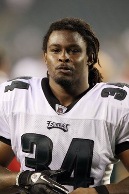 PHILADELPHIA, PA - AUGUST 25:  Eldra Buckley #34 of the Philadelphia Eagles looks on after their pre season game against the Cleveland Browns on August 25, 2011 at Lincoln Financial Field in Philadelphia, Pennsylvania.  (Photo by Jim McIsaac/Getty Images)