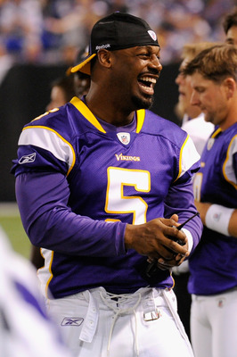 MINNEAPOLIS, MN - SEPTEMBER 1: Donovan McNabb #5 of the Minnesota Vikings smiles from the sidelines during the first half against the Houston Texans on September 1, 2011 at Hubert H. Humphrey Metrodome in Minneapolis, Minnesota. (Photo by Hannah Foslien/G