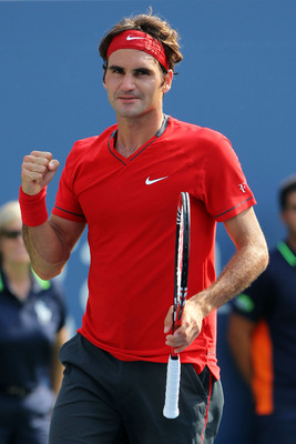 NEW YORK, NY - SEPTEMBER 03:  Roger Federer of Switzerland celebrates after defeating Marin Cilic of Croatia during Day Six of the 2011 US Open at the USTA Billie Jean King National Tennis Center on September 3, 2011 in the Flushing neighborhood of the Qu