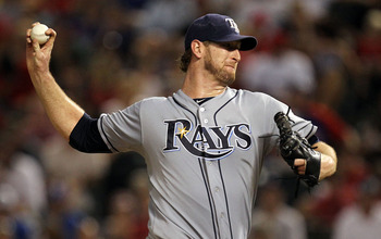 ARLINGTON, TX - SEPTEMBER 01:  Jeff Niemann #34 of the Tampa Bay Rays throws against the Texas Rangers at Rangers Ballpark in Arlington on September 1, 2011 in Arlington, Texas.  (Photo by Ronald Martinez/Getty Images)