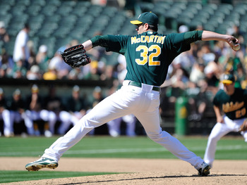 OAKLAND, CA - SEPTEMBER 03: Brandon McCarthy #32 of the Oakland Athletics pitches against the Seattle Mariners in the ninth inning during an MLB baseball game at O.co Coliseum on September 3, 2011 in Oakland, California. The Athletics won the game 3-0. (P