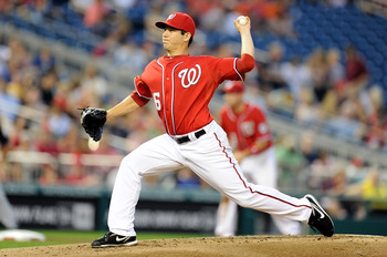 WASHINGTON, DC - SEPTEMBER 03:  Tom Milone #46 of the Washington Nationals pitches in his major league debut against the New York Mets at Nationals Park on September 3, 2011 in Washington, DC.  (Photo by Greg Fiume/Getty Images)