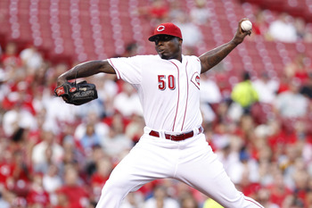 CINCINNATI, OH - AUGUST 31: Dontrelle Willis #50 of the Cincinnati Reds pitches against the Philadelphia Phillies at Great American Ball Park on August 31, 2011 in Cincinnati, Ohio. (Photo by Joe Robbins/Getty Images)