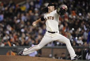 SAN FRANCISCO, CA - AUGUST 29: Tim Lincecum #55 of the San Francisco Giants pitches against the Chicago Cubs in the sixth inning during an MLB baseball game at AT&amp;T Park August 29, 2011 in San Francisco, California. The Cubs won the game 6-0. (Photo by Th