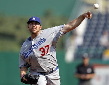 PITTSBURGH, PA - SEPTEMBER 01:  Dana Eveland #37 of the Los Angeles Dodgers pitches against the Pittsburgh Pirates during the game on September 1, 2011 at PNC Park in Pittsburgh, Pennsylvania.  (Photo by Justin K. Aller/Getty Images)