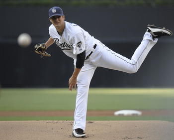 SAN DIEGO, CA - SEPTEMBER 3: Cory Luebke #52 of the San Diego Padres pitches during the first inning of a baseball game against the Colorado Rockies at Petco Park on September 3, 2011 in San Diego, California. (Photo by Denis Poroy/Getty Images)