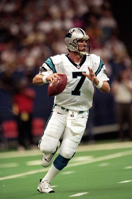 12 Sep 1999: Steve Beuerlein #7 of the Carolina Panthers move to pass the ball during the game against the New Orleans Saints at the Louisiana Superdome in New Orleans, Louisiana. The Saints defeated the Panthers 19-10. Mandatory Credit: Elsa Hasch  /Alls