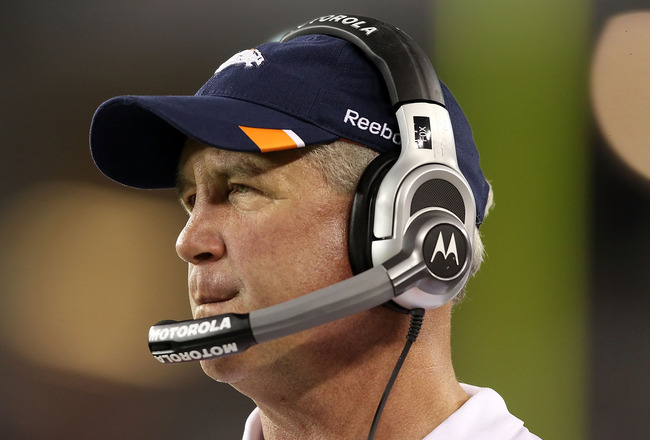 GLENDALE, AZ - SEPTEMBER 01:  Head coach John Fox of the Denver Broncos watches from the sidelines during the preseason NFL game against the Arizona Cardinals at the University of Phoenix Stadium on September 1, 2011 in Glendale, Arizona. The Cardinals de
