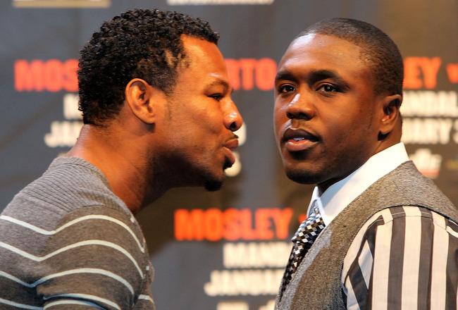 LAS VEGAS - NOVEMBER 14:  (L-R) Shane Mosely and Andre Berto pose after their news conference at the Mandalay Bay Hotel & Casino on November 14, 2009 in Las Vegas, Nevada. Mosley and Berto announced today they will meet in the ring on January 30, 2010 at