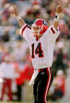 1 Jan 1998:  Quarterback Mike Bobo of the Georgia Bulldogs celebrates during the Outback Bowl against the Wisconsin Badgers.  Georgia won the game 33-6. Mandatory Credit: Scott Halleran  /Allsport
