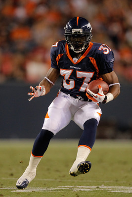 DENVER, CO - AUGUST 20:  Running back Jeremiah Johnson #37 of the Denver Broncos in action against the Buffalo Bills at Sports Authority Field at Mile High on August 20, 2011 in Denver, Colorado. The Broncos defeated the Bills 24-10. (Photo by Justin Edmo
