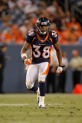 DENVER, CO - AUGUST 20:  Cornerback Chris Harris #38 of the Denver Broncos in action against the Buffalo Bills at Sports Authority Field at Mile High on August 20, 2011 in Denver, Colorado. The Broncos defeated the Bills 24-10. (Photo by Justin Edmonds/Ge