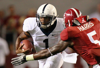 TUSCALOOSA, AL - SEPTEMBER 11:  Quarterback Robert Bolden #1 of the Penn State Nittany Lions against Jerrell Harris #5 of the Alabama Crimson Tide at Bryant-Denny Stadium on September 11, 2010 in Tuscaloosa, Alabama.  (Photo by Kevin C. Cox/Getty Images)