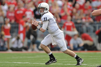 COLUMBUS, OH - NOVEMBER 13:  Quarterback Matt McGloin #11 of the Penn State Nittany Lions looks to pass against the Ohio State Buckeyes at Ohio Stadium on November 13, 2010 in Columbus, Ohio.  (Photo by Jamie Sabau/Getty Images)