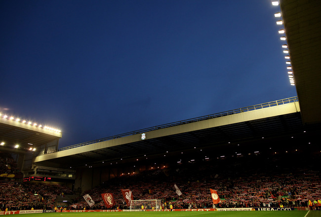 LIVERPOOL, ENGLAND - FEBRUARY 24:  General View of the kop end prior to the UEFA Europa League Round of 32 2nd leg match beteween Liverpool and Sparta Prague at Anfield on February 24, 2011 in Liverpool, England.  (Photo by Richard Heathcote/Getty Images)