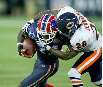 TORONTO, ON - NOVEMBER 07:  Roscoe Parrish #11 of the Buffalo Bills is tackled by Tim Jennings #26 of the Chicago Bears at Rogers Centre on November 7, 2010 in Toronto, Canada. Chicago won 22-19. (Photo by Rick Stewart/Getty Images)