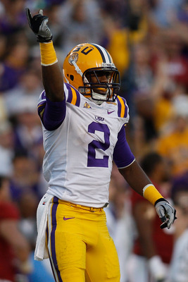 BATON ROUGE, LA - NOVEMBER 06:  Rueben Randle #2 of the Louisiana State University Tigers celebrates after picking up a first down against the Alabama Crimson Tide at Tiger Stadium on November 6, 2010 in Baton Rouge, Louisiana. The Tigers defeated the Cri
