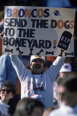 DENVER - JANUARY 17:  A fan holds a sign in support of the Denver Broncos during the AFC Conference Championship game against the Cleveland Browns at Mile High Stadium in Denver, Colorado, on January 17, 1988. The Broncos won 38-33. (Photo by George Rose/