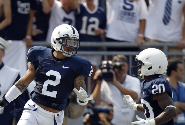 STATE COLLEGE, PA - SEPTEMBER 3:  Chaz Powell #2 of the Penn State Nittany Lions celebrates his opening kick off for a touchdown against the Indiana State Sycamores during the game on September 3, 2011 at Beaver Stadium in State College, Pennsylvania.  (P