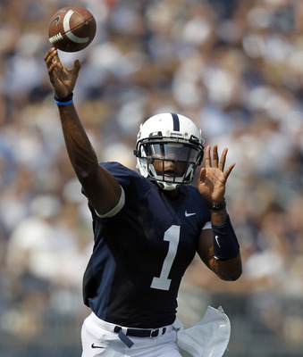 STATE COLLEGE, PA - SEPTEMBER 3:  Rob Bolden #1 of the Penn State Nittany Lions passes the ball against the Indiana State Sycamores during the game on September 3, 2011 at Beaver Stadium in State College, Pennsylvania.  (Photo by Justin K. Aller/Getty Ima