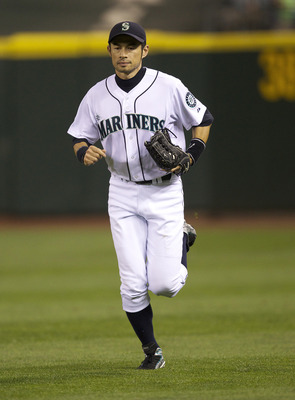 SEATTLE, WA - AUGUST 27:  Ichiro Suzuki #51 of the Seattle Mariners runs to the dugout during a game against the Chicago White Sox at Safeco Field on August 27, 2011 in Seattle, Washington. (Photo by Stephen Brashear/Getty Images)