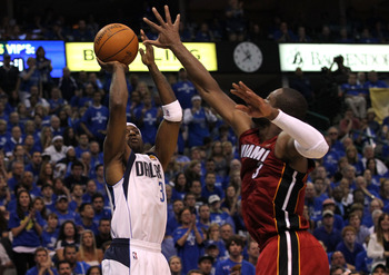 DALLAS, TX - JUNE 05:  Jason Terry #31 of the Dallas Mavericks attempts a shot against Dwyane Wade #3 of the Miami Heat in Game Three of the 2011 NBA Finals at American Airlines Center on June 5, 2011 in Dallas, Texas.  NOTE TO USER: User expressly acknow
